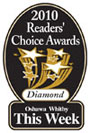 2010 Readers Choice award banner for best Oshawa Dentist.
