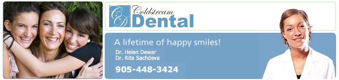 Collage with three smiling ladies on the left, coldstream dental logo and smiling dental assistant on the right.